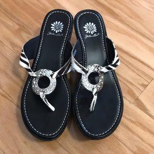 Yellow Box leather wedge zebra sandals siz